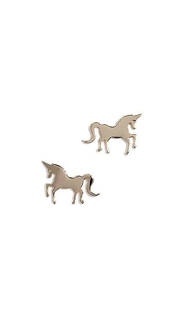 Sydney Evan 14k Tiny Unicorn Stud Earrings