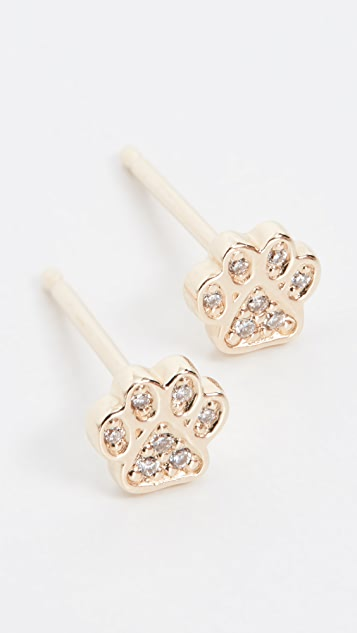 Sydney Evan 14k Mini Paw Stud Earrings