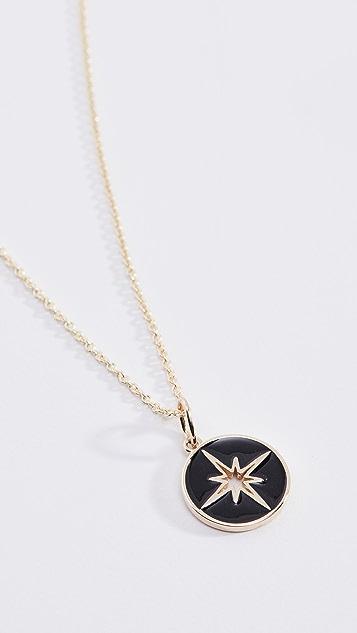 Sydney Evan 14k Enamel Starburst Medallion Charm Necklace