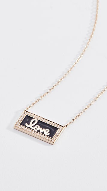 Sydney Evan 14k Love Script Bar Necklace