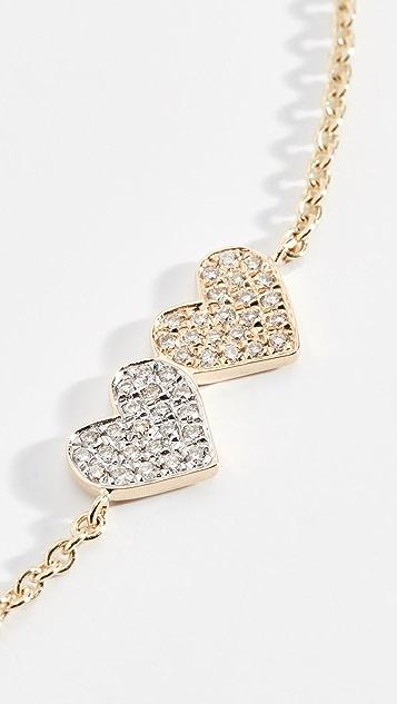 Sydney Evan Двухцветный браслет Double Heart из 14-каратного золота