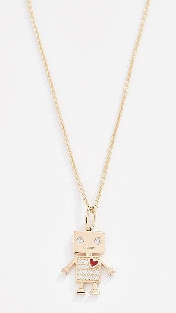 Sydney Evan 14k Gold Love Robot Necklace