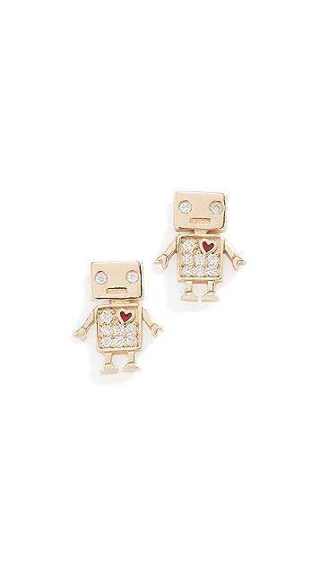 Sydney Evan 14k Gold Love Robot Stud Earrings