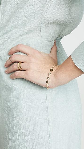 Sydney Evan Браслет с комбинированными подвесками из 14-каратного золота