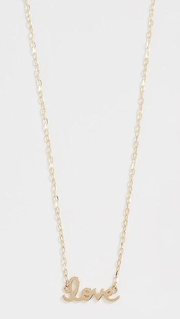 Sydney Evan 14k Gold Tiny Script Love Necklace
