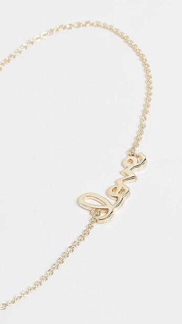 Sydney Evan Браслет из 14-каратного золота с небольшой надписью «Love»