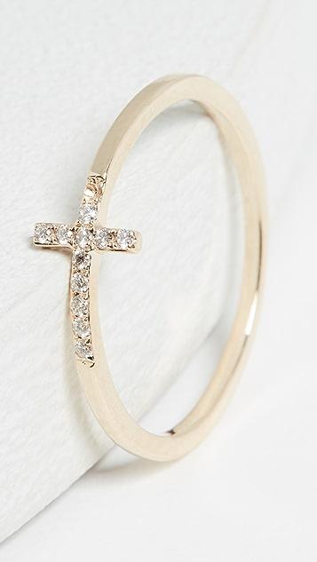 Sydney Evan Кольцо из 14-каратного золота с изогнутом крестом