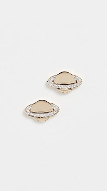 Sydney Evan 14k Gold Small Saturn Studs