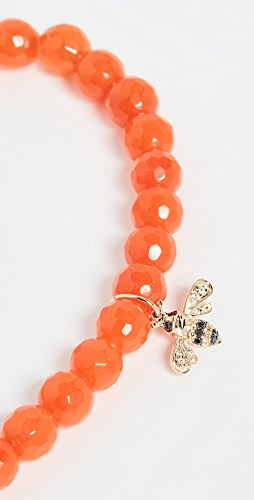 Sydney Evan - 14k gold Orange Beaded Bee Charm Bracelet
