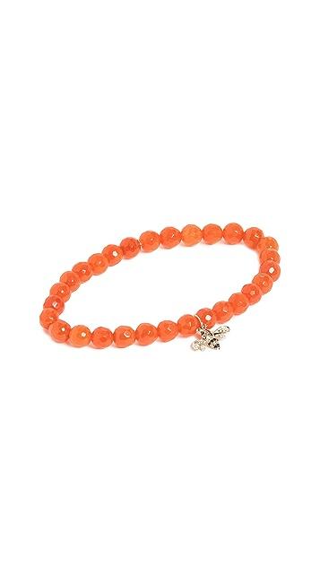 Sydney Evan 14k 金橙色珠饰蜜蜂吊坠手链