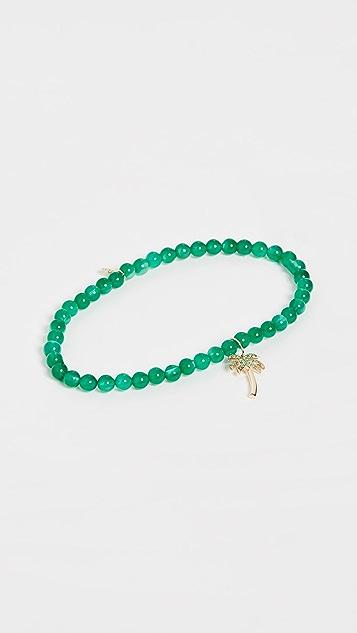Sydney Evan 14k 金绿缟玛瑙珠饰棕榈树吊坠手链