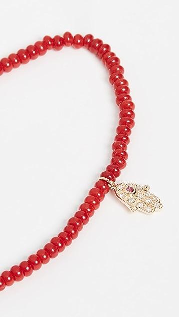 Sydney Evan 14k Gold Red Bamboo Beaded Hamsa Charm Bracelet