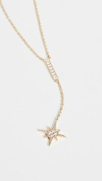Sydney Evan Pave Bar and Starburst Y Necklace