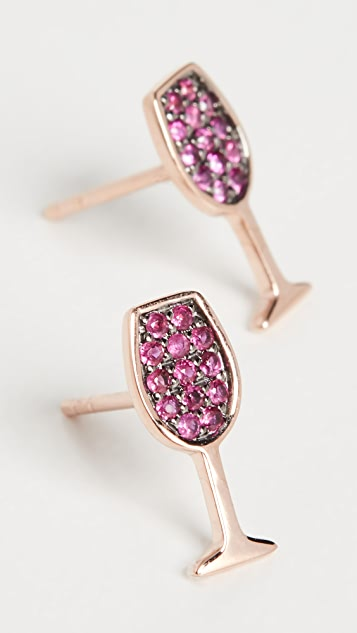 Sydney Evan 14k Small Wine Glass Stud Earrings