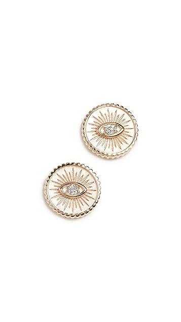 Sydney Evan Маленькие серьги-гвоздики Marquis из 14-каратного золота с монетами и глазом