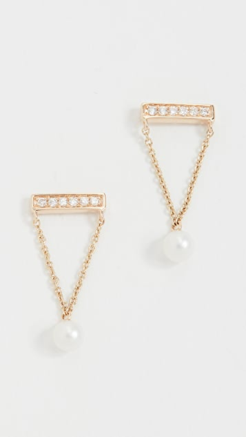 Sydney Evan 14k Gold Pearl Drop Diamond Bar Studs