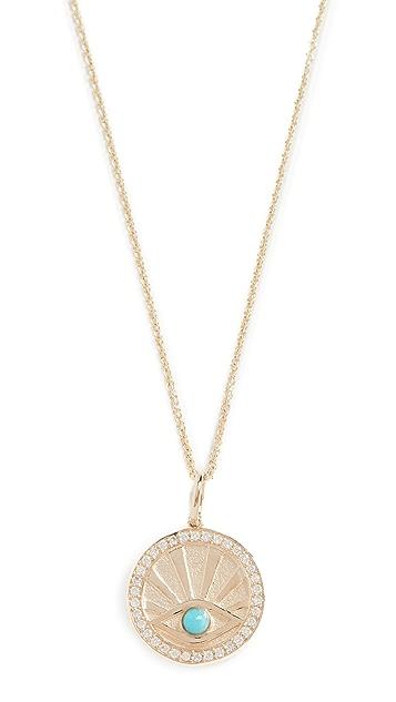 Sydney Evan Evil Eye Coin Necklace