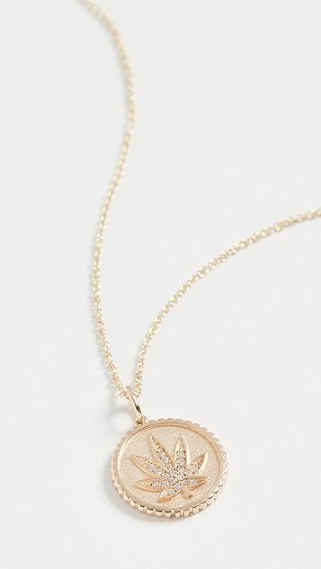 Sydney Evan 14k Pot Leaf Coin Necklace