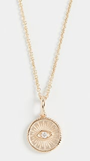 Sydney Evan 14k Small Marquis Eye Coin Necklace