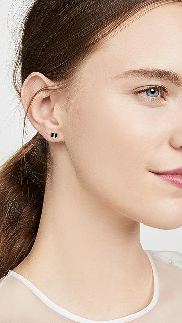 Sydney Evan 珐琅和密镶钻石条纹心形耳钉