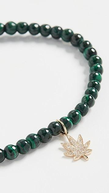 Sydney Evan Small Pave Pot Leaf Charm Bracelet