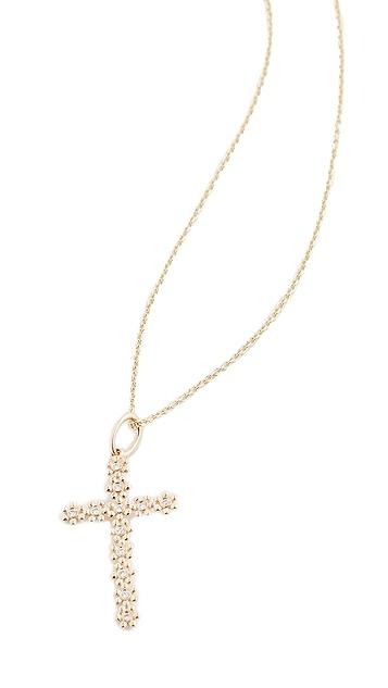 Sydney Evan Колье из 14-каратного золота с подвеской в виде креста и миниатюрной маргаритки