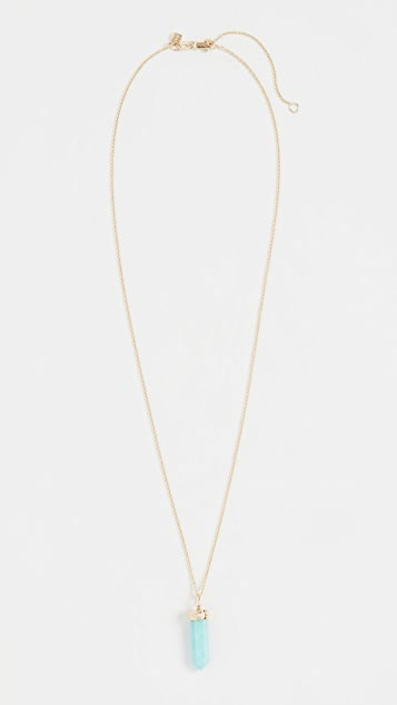 Sydney Evan 14k Long Carved Stone Crystal Point Charm Necklace