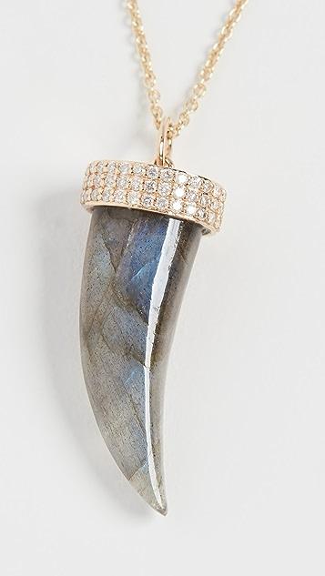 Sydney Evan 14k Medium Carved Stone Horn Necklace with Pave Cap