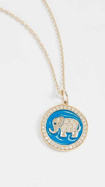 Sydney Evan 14k 大象珐琅圆牌