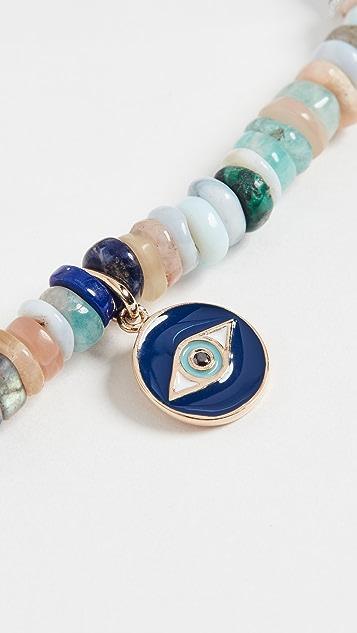 Sydney Evan Tiny Enamel Evil Eye Medallion Bracelet