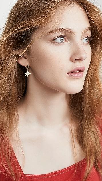 Sydney Evan Pure Starburst Hoop Earrings, Small Hugg