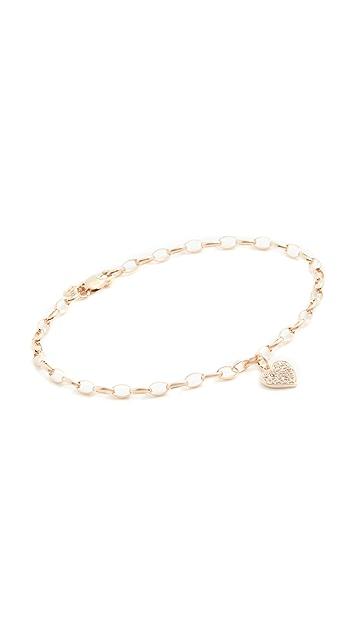 Sydney Evan Pave Heart Charm Bracelet