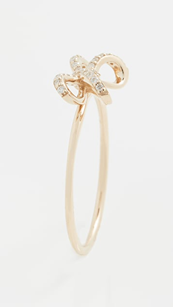Sydney Evan Small Pave Double Bow Ring