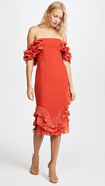 Talulah Rosa Ruffle Midi Dress - Red