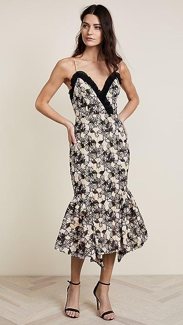 La Maison Talulah Eloquence Floral Strapless Midi Dress