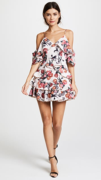 La Maison Talulah Rose Quartz Ruffle Mini Dress