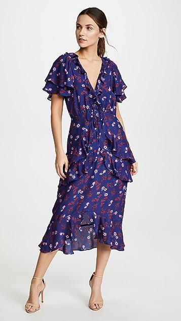 The Yearning Ruffle Midi Dress by La Maison Talulah