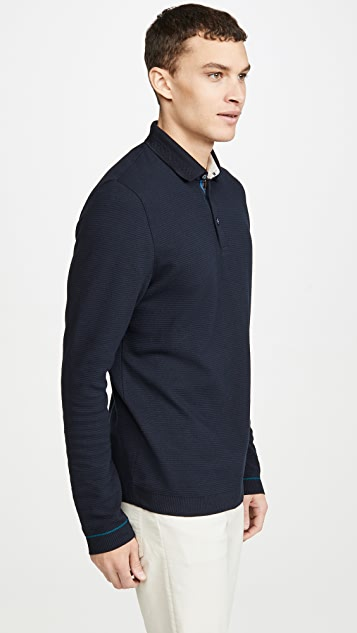 Ted Baker Terned Long Sleeve Polo Shirt