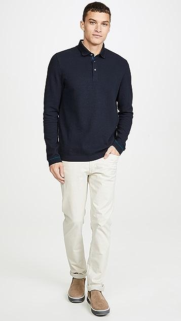 Ted Baker Terned Long Sleeve Polo Shirt