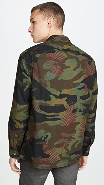 Tres Bien Heavy Cotton Ripstop Floral Overshirt