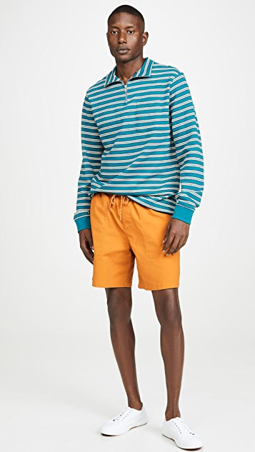 Tres Bien Half Zip Striped Sweatshirt