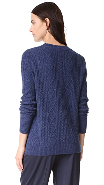 TSE Cashmere Boyfriend Cable Crew Sweater