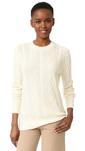 TSE Cashmere Boyfriend Cable Crew Sweater