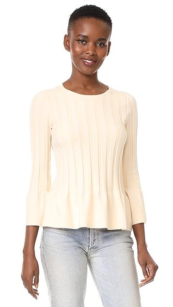 TSE Cashmere Peplum 3/4 Sleeve Sweater