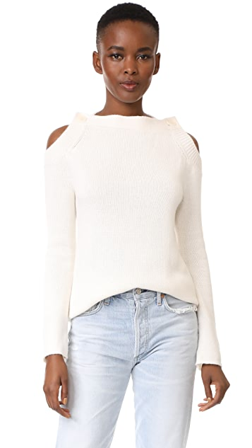 TSE Cashmere Long Sleeve Button Neck Sweater