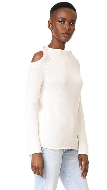 TSE Cashmere Long Sleeve Button Neck Sweater