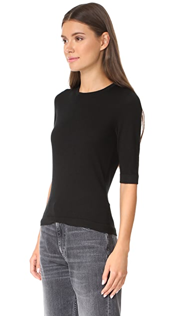 TSE Cashmere Elbow Sleeve Crew Sweater
