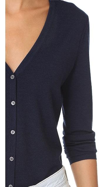 TSE Cashmere Long Sleeve V Neck Cardigan