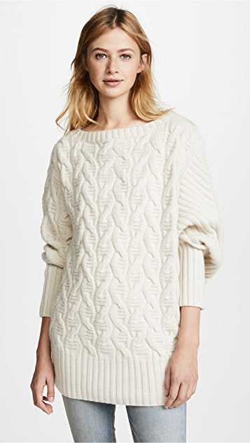 TSE Cashmere Asymmetrical Cable Cashmere Sweater