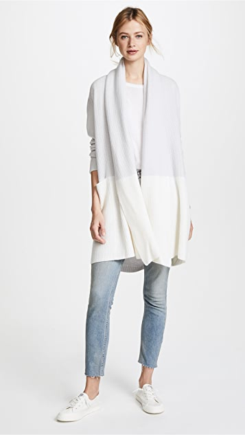 TSE Cashmere Colorblock Hooded Shawl Cardigan